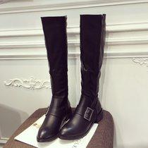 长靴高筒靴子英伦皮带扣圆头靴粗跟低跟女靴百搭骑士靴黑色马丁靴(39)(黑色)