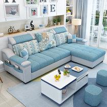 紫茉莉简约现代?#23478;?#27801;发小户型客厅家具整装组合可拆洗转角三人位布沙发(海绵版(下单备注)颜色可选 三位+脚踏+黑白茶几)