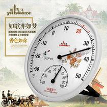雨花泽(Yuhuaze)欧美田园风指针式温湿度计 大表盘室内外温度计湿度计 台式挂式两用(欧式浓花482)