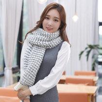 围巾女冬天韩版潮加厚镂空针织围巾女甜美可爱围脖披肩677888(白色)