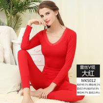 【浪莎】美體內衣 女士蕾絲束身基礎套裝 秋衣秋褲 V領秋冬保暖套裝(MK5012/大紅 均碼170CM以內)