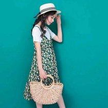 女童夏季連衣裙2019夏季新款中大童韓版寬松公主時尚套裝潮六件套(xs 白)