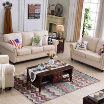 乔林曼兰 布沙发 美式乡村客厅田园地中海可拆洗布沙发组合套装(定制颜色(联系客服备注) 1+1+3人位)