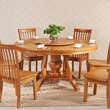 木帆 欧式实木圆形餐桌椅 全大小户型带圆转盘饭桌 餐桌椅 组合(餐桌