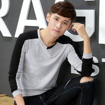 男士长袖t恤V领纯色男装加绒加厚打底衫秋衣男青少年韩版上衣服潮   2235(灰色 XL)