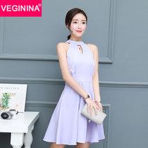 VEGININA 2017夏季新款V领连衣裙显瘦修身裙子韩版小香风无袖短裙 9372(紫罗兰 XL)