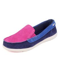 Crocs女鞋卡駱馳舒適休閑低幫平底反絨平底單鞋|14415 女士沃爾盧麂皮便鞋(藍色 37)