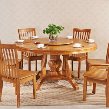 木帆 欧式实木圆形餐桌椅 全大小户型带圆转盘饭桌 餐桌椅 组合(一桌