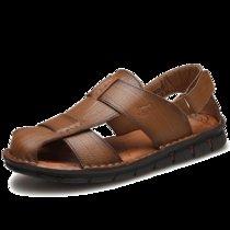 LOJO头层牛皮运动凉鞋男鞋新款真皮透气包头沙滩鞋户外镂空洞洞鞋鸟巢鞋拖鞋(卡其 44)
