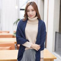 围巾女冬天羊毛韩版潮针织毛线围脖保暖围巾时尚披肩两用677888(深蓝色)
