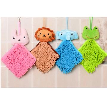 可爱卡通动物头雪尼尔擦手巾/方巾(粉色)