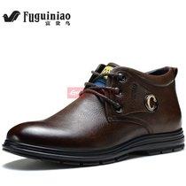 富贵鸟2015潮流男靴子韩版英伦马丁靴男士皮靴短靴皮鞋工装靴军靴(棕色)