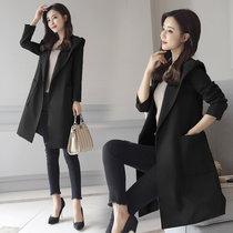 盘若 ZMQH9905 新款女士中长款风衣外套(黑色 XXL)