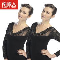 南極人春秋百搭女士親膚美體顯瘦性感鏤空刺繡蕾絲打底衫 二件裝(黑色2件)