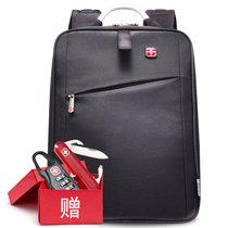 SVVTSSCFAP军刀商务双肩电脑背包 男女14寸防水多功能休闲旅行包中学生书包(黑色)
