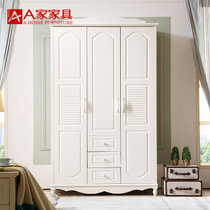 A家家具 衣柜衣櫥兩門三門木質韓式田園白色臥室整體大衣柜 3門衣柜 白色(衣柜 兩門)
