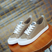 帆布鞋女平跟韩版小白鞋学生低帮情侣休闲布鞋平底板鞋潮(棕色 44)