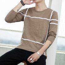 卡郎琪 男士2019春季新款长袖t恤圆领体恤打底衫 舒适大码修身条纹潮流小清薄款卫衣秋衣(MD-8910卡其色 XL)