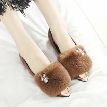 2017甜美时尚真兔毛绒里金属尖头中口平底平跟女士单鞋女鞋棉鞋(39)(黑色)