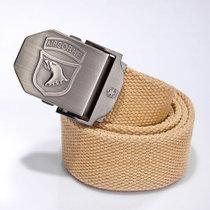 新款上市 包邮 男士加厚帆布腰带 户外休闲布皮带 工装裤腰带(卡其 120cm)