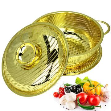不锈钢镀金高档蔬菜篮果蔬篮沥水篮水果篮菜篮子果盆果篮果盘漏盘 (22