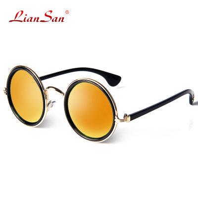 复古圆框防紫外线男女款太阳镜时尚造型遮阳墨镜2109(红色炫光)