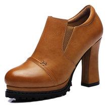 古奇天伦女鞋高跟女单鞋粗跟圆头深口欧美厚底防水台2015秋季新款(卡其色 34)