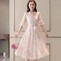 女装2018新款潮 夏装18-25岁20夏?#22659;?#35033;气质套装衣服品牌春连衣裙(浅粉色)(XXL)