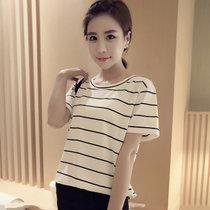 Mistletoe夏装新款韩版短袖条纹T恤女装打底衫休闲百搭女短袖(白色 M)