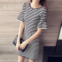 伊秋梦紫 2017夏季新款t恤裙修身短袖休闲直筒裙子中长款喇叭袖条纹连衣裙8858(黑白条纹 XXXL)