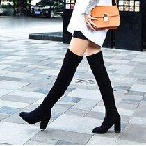 秋冬季新款过膝靴弹力绒面女靴韩版显瘦长靴粗跟高跟后拉链百搭靴(37)(黑色加绒)