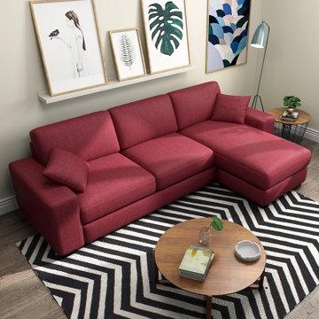 沙发简约现代小户型沙发组合客厅家具可拆洗转角三人位布沙发(暗红色