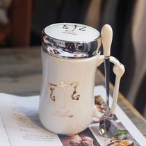 星座車載杯子 創意水杯 馬克杯 陶瓷杯 情侶隨手杯 咖啡杯帶蓋帶勺(魔蝎座)