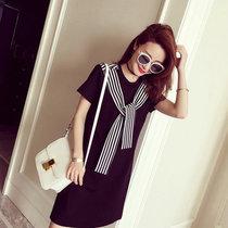 Mistletoe连衣裙新款夏季潮T恤女中长款百搭修身显瘦条纹女装(黑色 XXL)