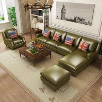 思巧 美式皮沙发客厅组合油蜡皮欧式沙发客厅转角沙发现代简约大小户型双人三人位沙发 A317(图片色 独立三人位)