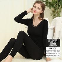 【浪莎】美體內衣 女士蕾絲束身基礎套裝 秋衣秋褲 V領秋冬保暖套裝(MK5012黑色 均碼170CM以內)