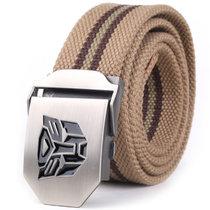 亲密百合变形金刚帆布条纹腰带(卡其色条纹)