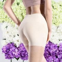 2条浪莎无痕收腹高腰安全裤内裤女士冰丝防走光夏透气打底平角裤保险(白色2条 均码(适合腰围1.8-2.4尺))