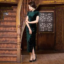 盘若 ZMBJS7502 复古长款秋新款纯色弹力旗袍丝绒旗袍(墨绿 XXXL)