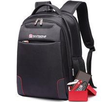【套装组合】SVVTSSCFAP军刀双肩电脑包男女背包学生书包休闲旅行包 双肩包+钱包+军刀+密码锁(黑色)