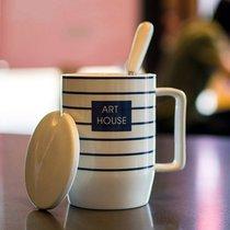 陶瓷杯 馬克杯 咖啡杯 創意杯子 水杯情侶對杯 條紋杯帶蓋勺(藍色-藍白條紋)