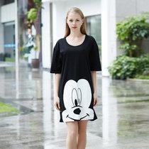 迪士尼 米奇系列 纯棉半身裙 卡通印花 女士睡衣 时尚舒适简约 圆领透气  D17SW033(黑色 均码)