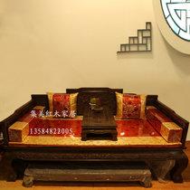 红木家具红木罗汉床?#30340;?#32599;汉床三件套三围独板鸡翅木