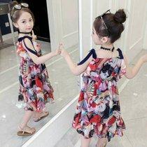 女童連衣裙2019新款夏裝沙灘裙超洋氣小女孩吊帶兒童裝六件套(m 白)