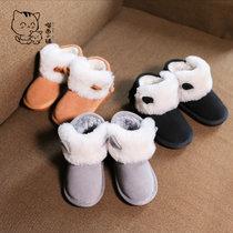 2018冬季新款时尚舒适百搭可爱兔耳朵保暖大棉雪地靴女童短靴保暖男童棉鞋加厚棉靴(37 棕色)