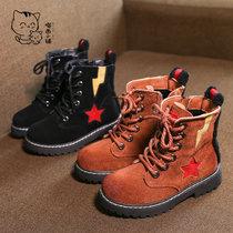 瞄西儿童冬季靴子男童棉靴女童高帮侧拉链加绒马丁靴保暖防滑冬靴防水加厚2018新款(37 棕色)