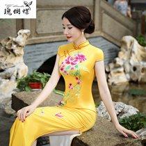 瑰蝴蝶旗袍6714(黄色 XXL)