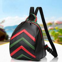 迪阿伦 新款双肩包明星同款PU彩条背包时尚学院风旅行包(红色 自定义)