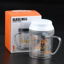 北斗正明居元素杯子帶蓋馬克杯玻璃家用水杯創意大容量情侶咖啡杯馬克杯塑料蓋(我是玻璃)