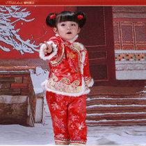 女童唐装儿童冬装加厚棉衣女宝宝唐装新年婴幼儿周岁生日礼服套装(XXL码 红色)
